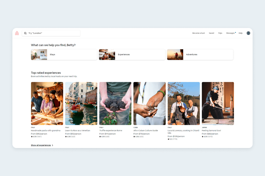 Airbnb landing page for the returning visitors