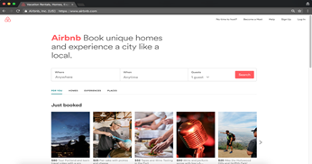 Airbnb landing page for the first-time visitors